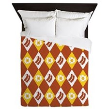 Bacon and Eggs Argyle Pattern Queen Duvet