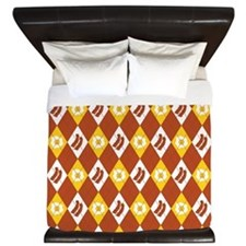 Bacon and Eggs Argyle Pattern King Duvet