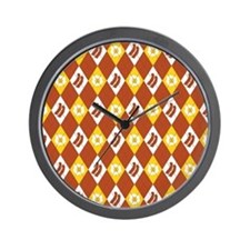 Bacon and Eggs Argyle Pattern Wall Clock
