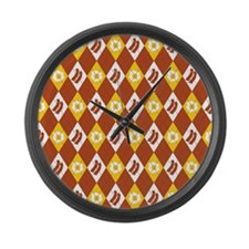 Bacon and Eggs Argyle Pattern Large Wall Clock