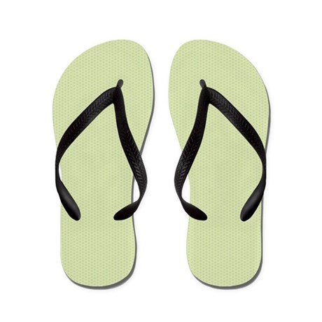 Light Blue Micro Flowers on Green Flip Flops