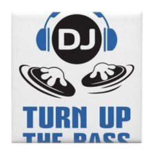 DJ and headphones Turn up the BASS design Tile Coa