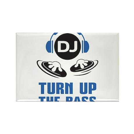 DJ and headphones Turn up the BASS design Rectangl