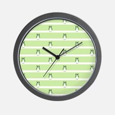 Green Owls Pattern Wall Clock