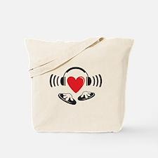 Love the DJ, love to DJ headphones design Tote Bag