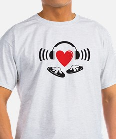 Love the DJ, love to DJ headphones design T-Shirt