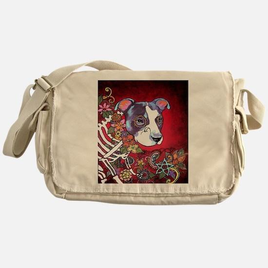 DiaLos Muertos dog Messenger Bag