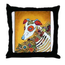Dia Los Muertos, day of the dead, dog, Throw Pillo
