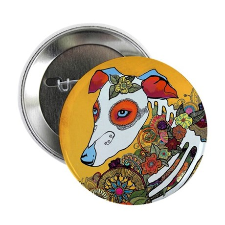 """Dia Los Muertos, day of the dead, dog, 2.25"""" Butto"""