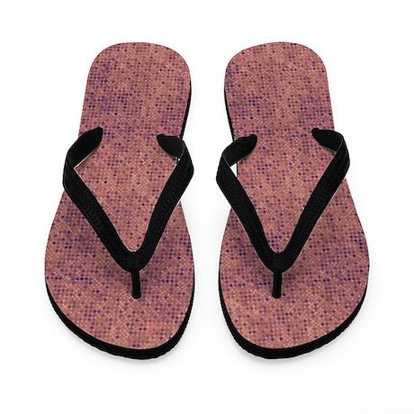 Purple Micro Dots on Grunge Pink Flip Flops