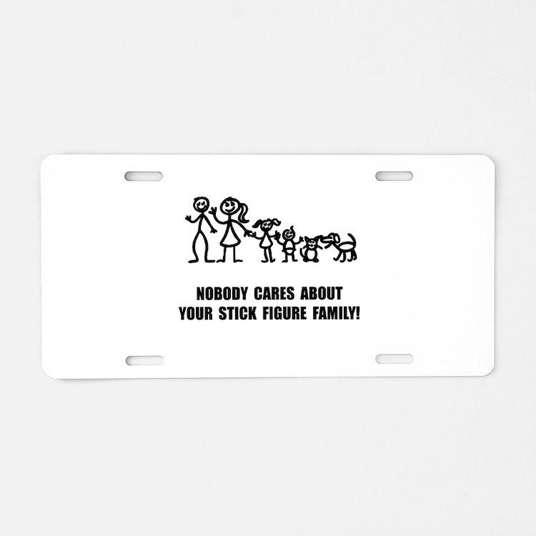 Anti Stick Figure Family Aluminum License Plate