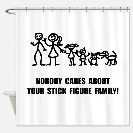Anti Stick Figure Family Shower Curtain