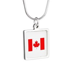 Flag of Canada Silver Square Necklace