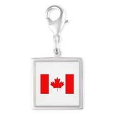 Flag of Canada Silver Square Charm