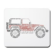 Jeep Wrangler Words Mousepad