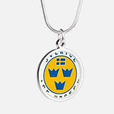 SE Sweden/Sverige Hockey Silver Round Necklace