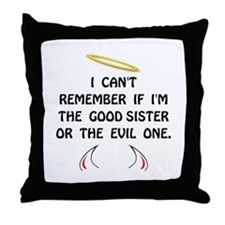 Good Evil Sister Throw Pillow