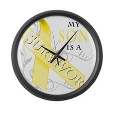 My Son is a Survivor (yellow) Large Wall Clock