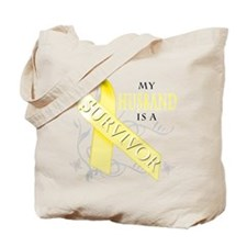 My Husband is a Survivor (yellow) Tote Bag
