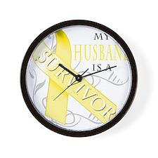 My Husband is a Survivor (yellow) Wall Clock