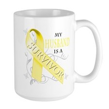My Husband is a Survivor (yellow) Mug