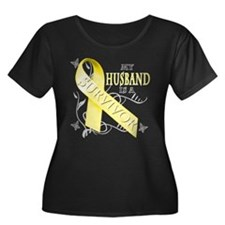My Husband is a Survivor (yellow) Plus Size T-Shir