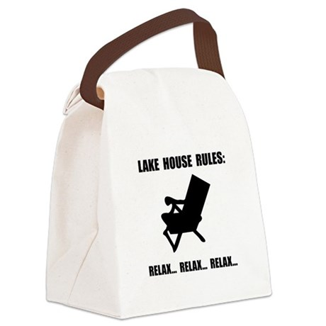 Lake House Rules Canvas Lunch Bag