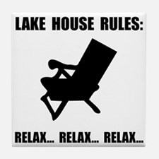 Lake House Rules Tile Coaster