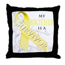 My Brother is a Survivor (yellow) Throw Pillow