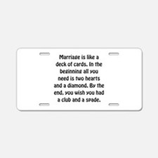 Marriage Cards Aluminum License Plate