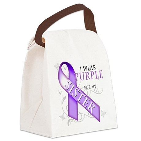 I Wear Purple for my Sister.png Canvas Lunch Bag