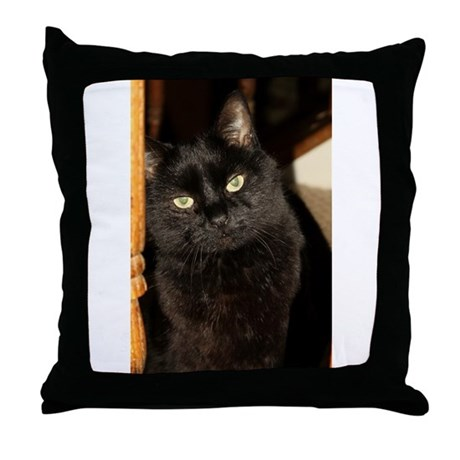 Black Cat named Cosmo Throw Pillow