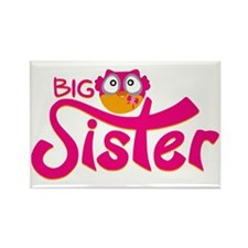 Owl Big Sister Print Rectangle Magnet