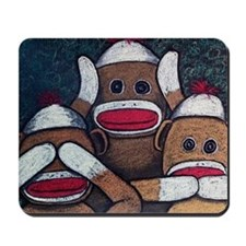 See No Evil Sock Monkeys Mousepad