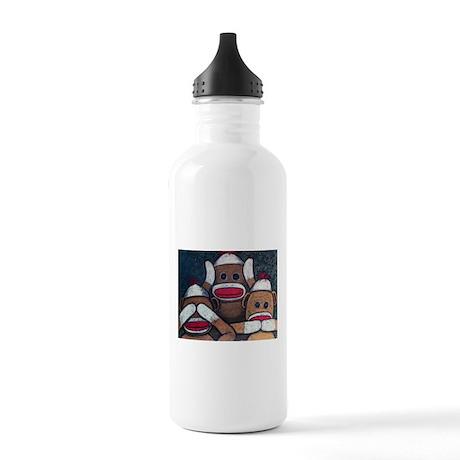 See No Evil Sock Monkeys Water Bottle