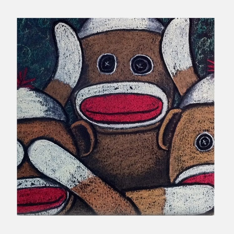 See No Evil Sock Monkeys Tile Coaster