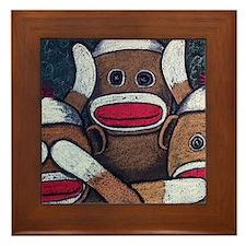 See No Evil Sock Monkeys Framed Tile