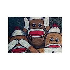 See No Evil Sock Monkeys Rectangle Magnet