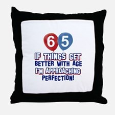 65 year Old Birthday Designs Throw Pillow
