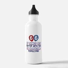 66 year Old Birthday Designs Water Bottle