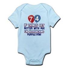 74 year Old Birthday Designs Infant Bodysuit