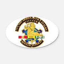 Army - 1-9th CAV w VN SVC Ribbons Oval Car Magnet