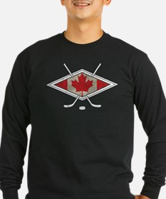 Canadian Hockey Flag Long Sleeve T-Shirt