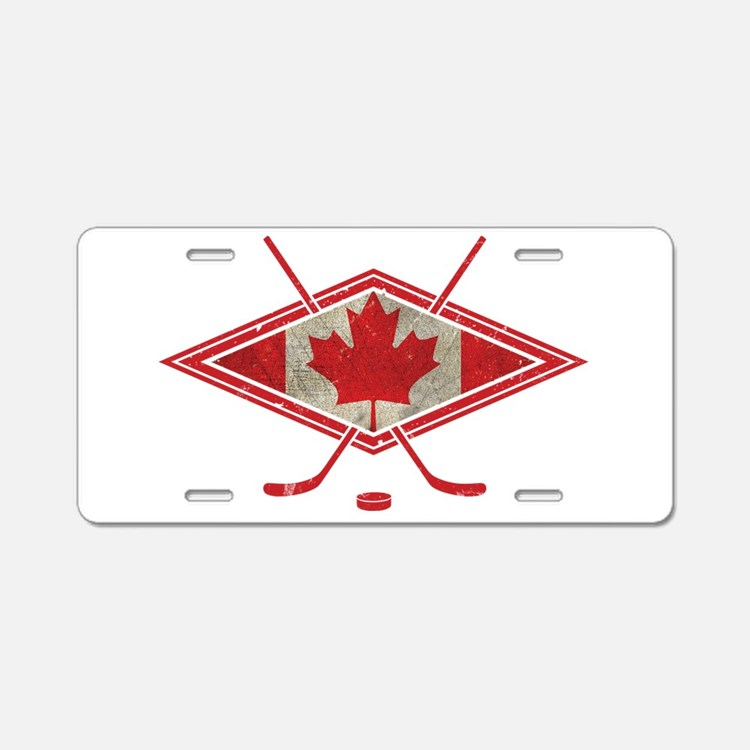 Canadian Hockey Flag Aluminum License Plate
