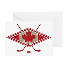 Canadian Hockey Flag Greeting Card