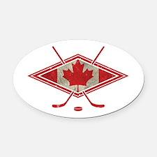 Canadian Hockey Flag Oval Car Magnet