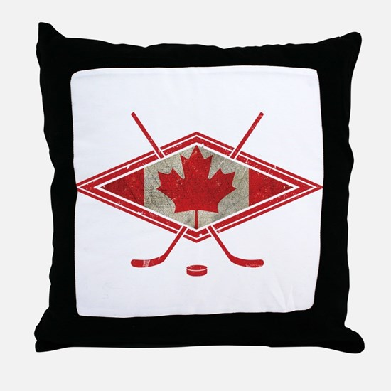 Canadian Hockey Flag Throw Pillow