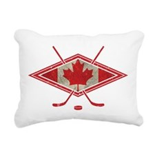 Canadian Hockey Flag Rectangular Canvas Pillow