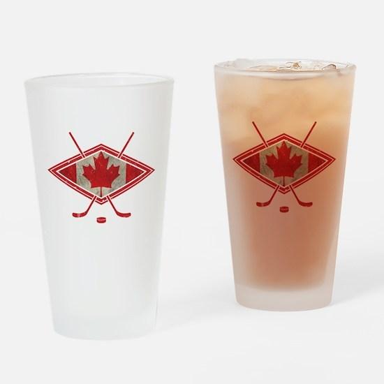 Canadian Hockey Flag Drinking Glass