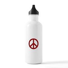 Crimson Peace Sign Water Bottle